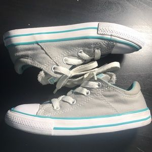 Gray and blue converse